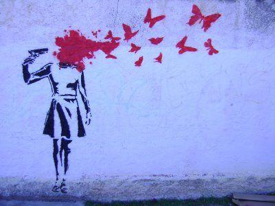 Butterflies Grafite Arte Urbana Stencil