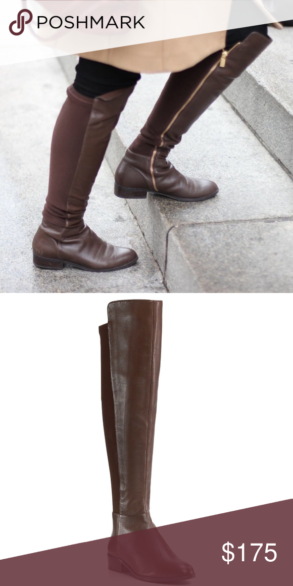 45baff0f26cb2 Michael Kors Bromley Brown Leather Over Knee Boots Rare brown leather boots  Michael Kors Bromley tall over knee flat boot. Great preloved condition ...