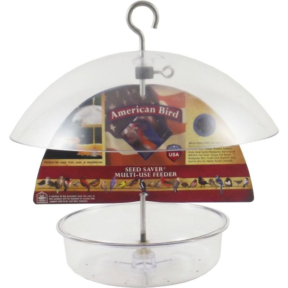 7 in. Tray American Bird Seed Saver Dish Feeder with 10 in. Adjustable Dome, Clear