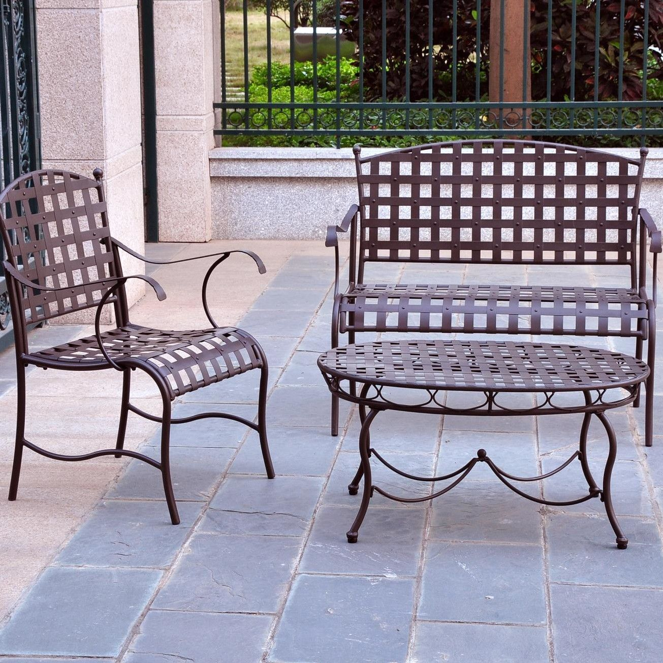 Santa Fe Iron Patio 3 Piece Lounge Seating Group | Products | Pinterest