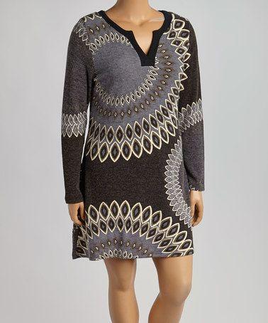 This Black & Gray Geo Notch Neck Sweater Dress - Plus is perfect! #zulilyfinds