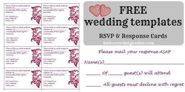 Free Wedding Templates Rsvp Reception Cards Katie S Crochet Goodies Wedding Invitations Printable Templates Rsvp Wedding Cards Free Wedding Templates