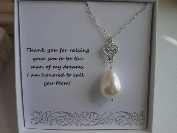 Mother of the Groom Gift, Mother in Law Gift,  Silver Heart Necklace,Thank You Mom, Pearl Necklace, Gifts For Mom, Wedding on Etsy, £19.47