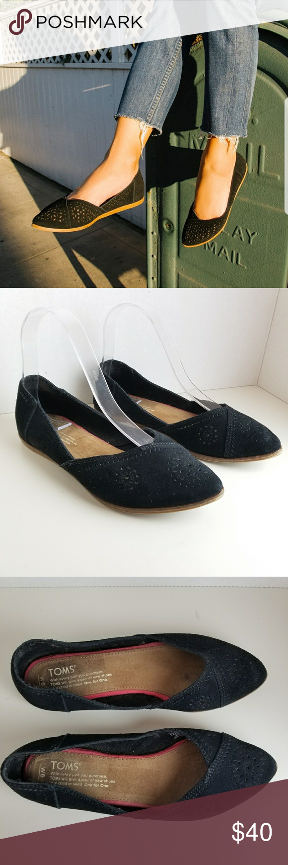 da7bc48fd5e Toms Black Perforated Suede Jutti Flats 6 Toms Black Perforated Suede Jutti  Ponted Toe Flats Size 6 Great preowned condition SB2 Toms Shoes Flats    Loafers