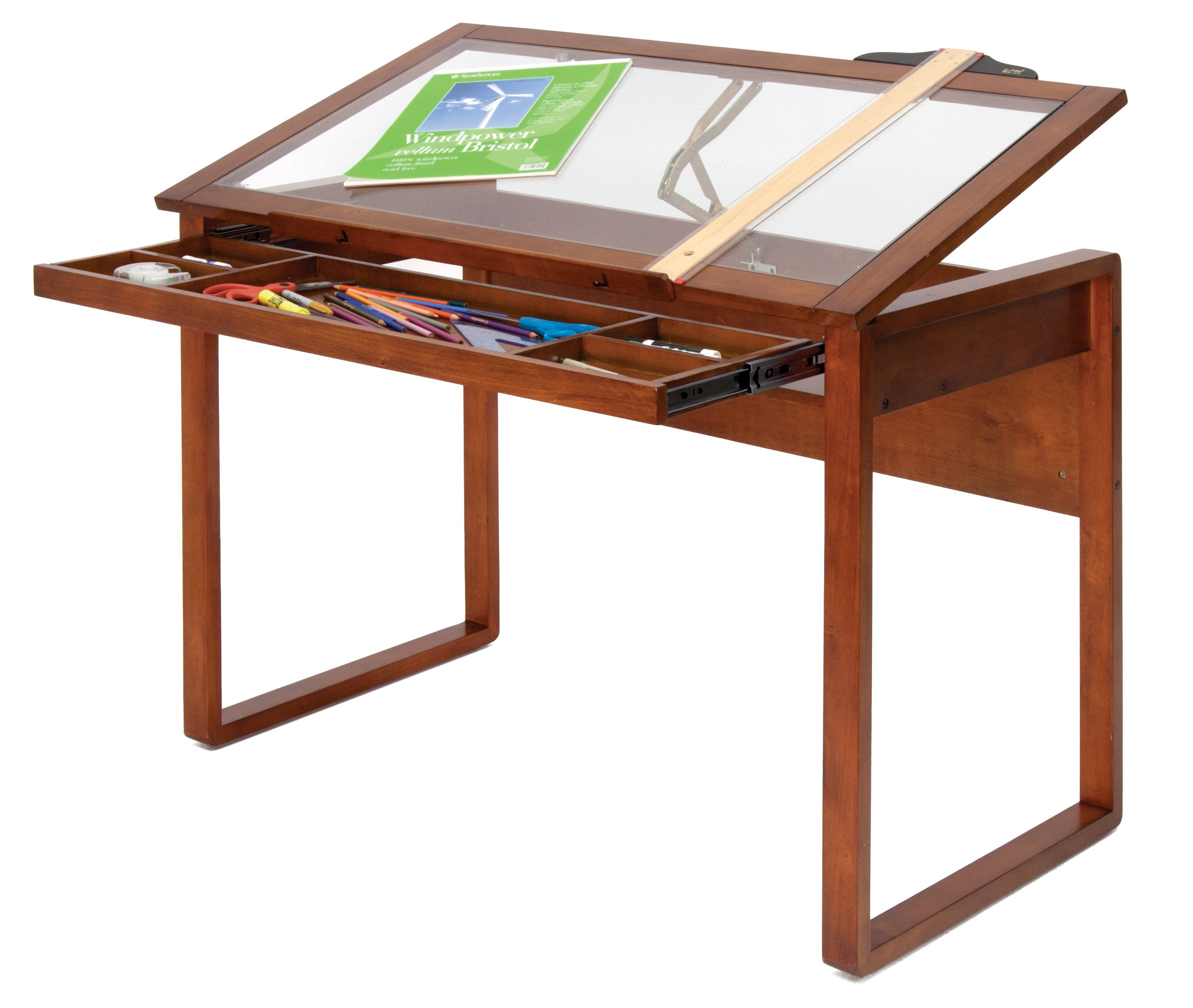 Heavenly Brown Polished Wooden Square Craft Table With Pull Out Glass Top  Added Single Shelf Drawers