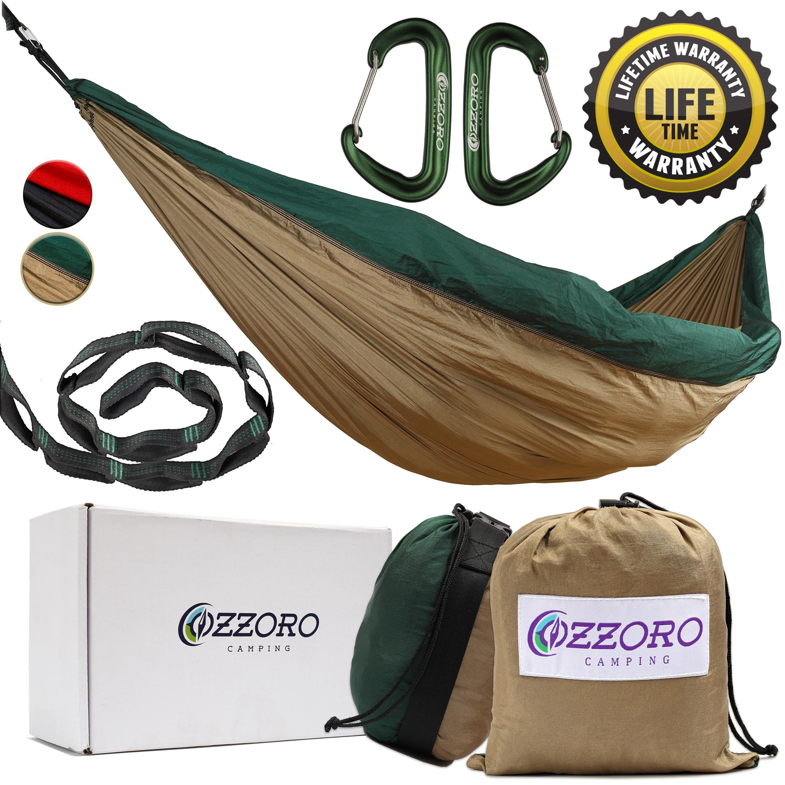 ozzoro camping double parachute hammock with 9 feet straps and carabiners   khaki   dark green ozzoro camping double parachute hammock with 9 feet straps and      rh   pinterest