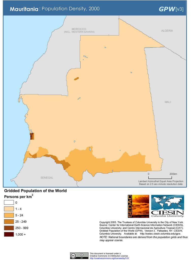 Mauritania Population Density, 2000 MAPS Pinterest - new world map by population