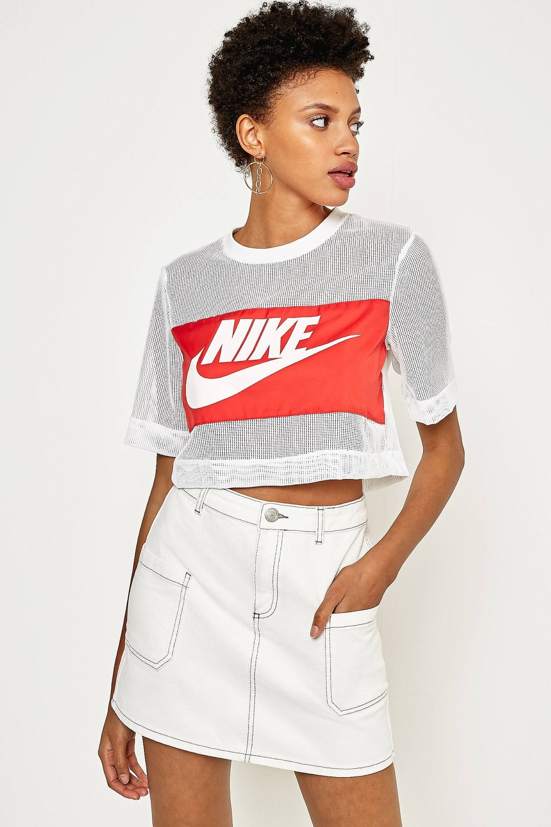 Nike White Mesh Swoosh Panel Cropped TShirt