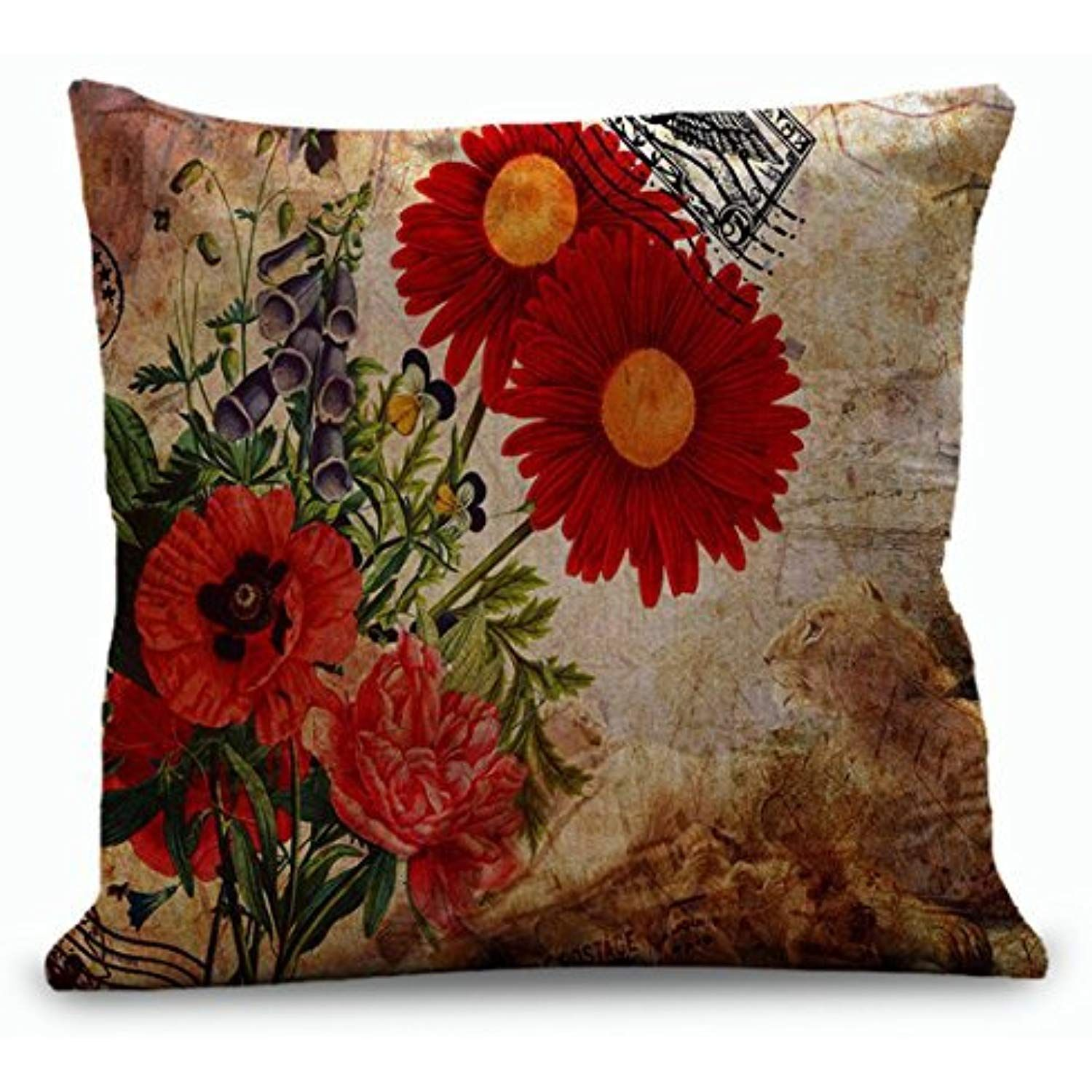16x16 inches red gerbera flower throw pillow covers accent