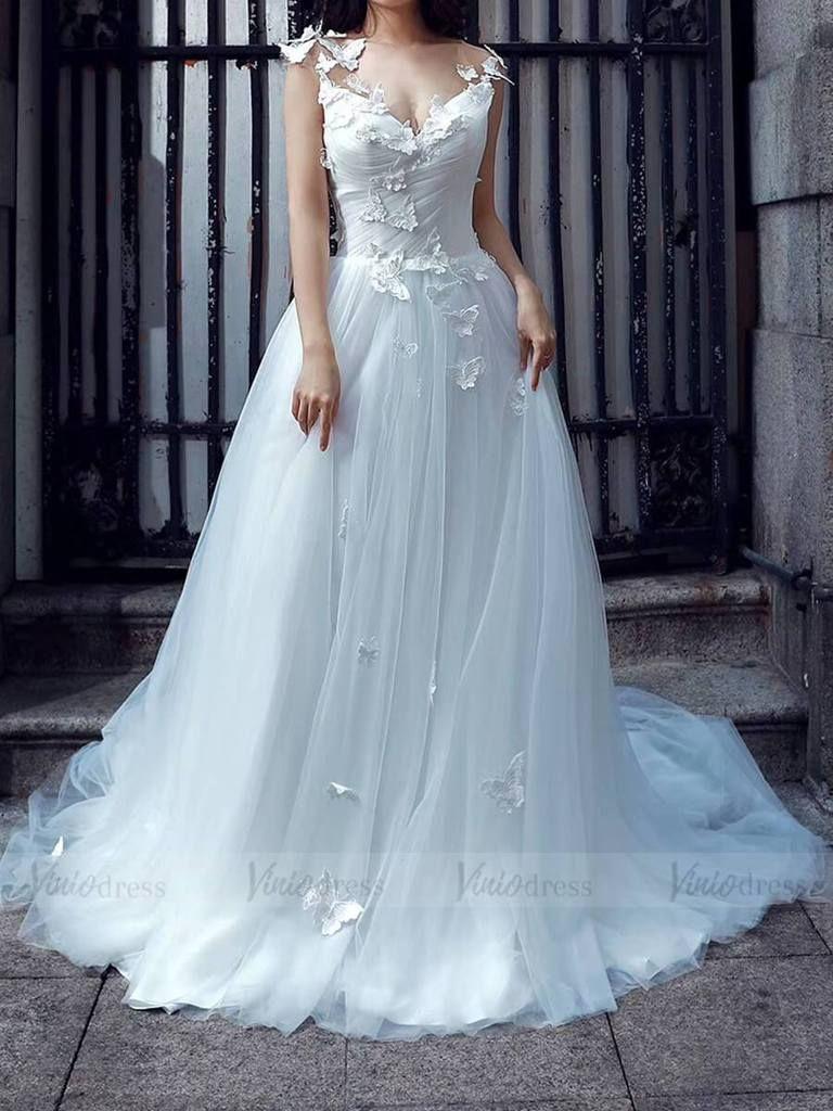 Cheap Tulle Beach Wedding Dresses Butterfly Applique Vw1187 Butterfly Wedding Dress Sweetheart Wedding Dress Classic Wedding Dress