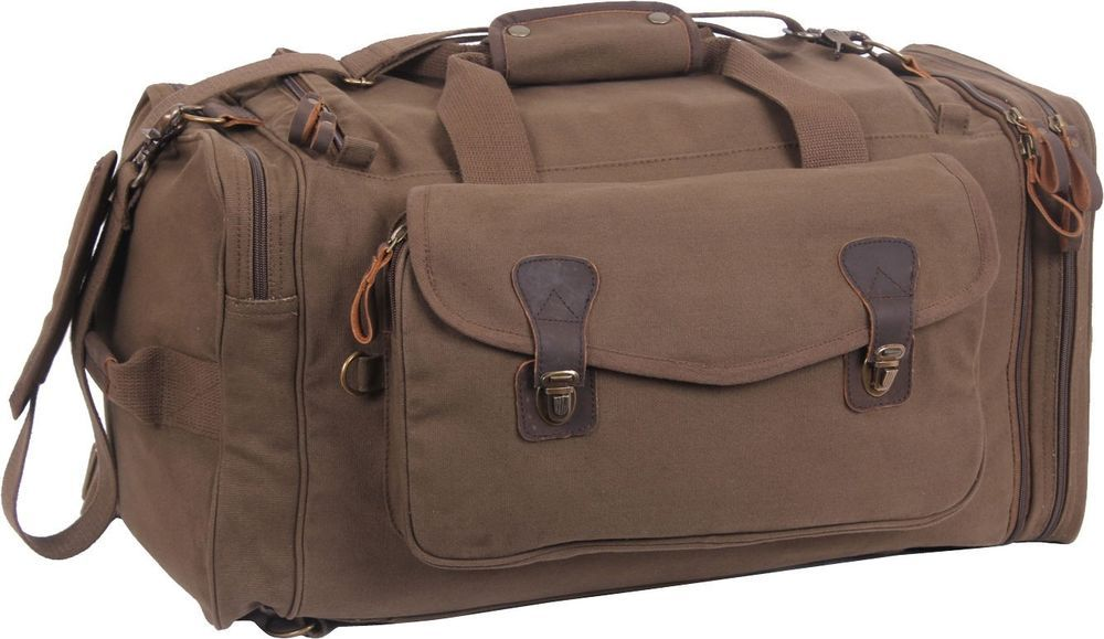 Brown Extended Stay Canvas Weekend Travel Duffle Bag w  Backpack Straps   Rothco  DuffleGymBag 50896b5b2e4