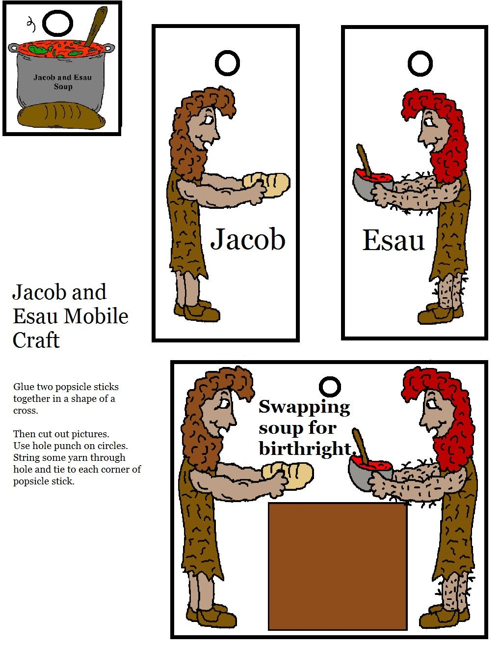 Day 2: Jacob and Esau Mobile Craft Activity | Sunday School ...