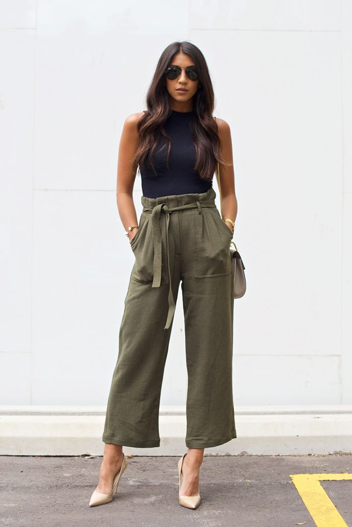 41502f2a868 spring   summer - street style - street chic style - summer outfits - party  outfits - casual outfits - black sleeveless crop top + olive belted  culottes + ...