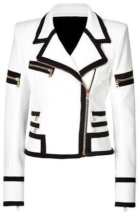 Women White Genuine Handmade Brando Leather Jacket  - Kleidung 7 -