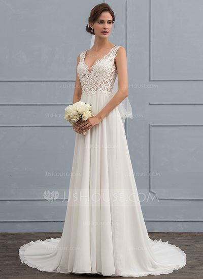 US$ 149.99] A-Line/Princess V-neck Court Train Chiffon Wedding Dress ...