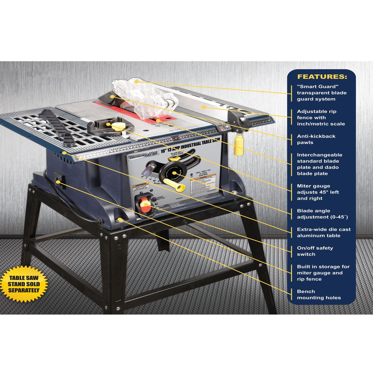 10 In 13 Amp Benchtop Table Saw Harbor Freight 140 Benchtop Table Saw Best Table Saw Table Saw