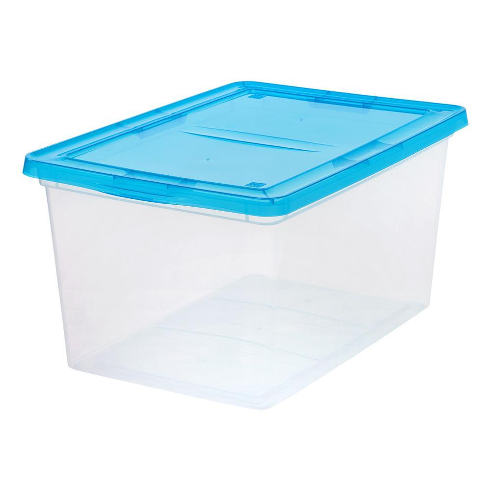 58 Qt Storage Box In Clear With Teal Lid Plastic Storage Bins
