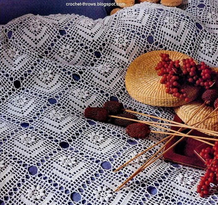 Crochet Throws Crochet Bedspread Of White Cotton Yarns Free
