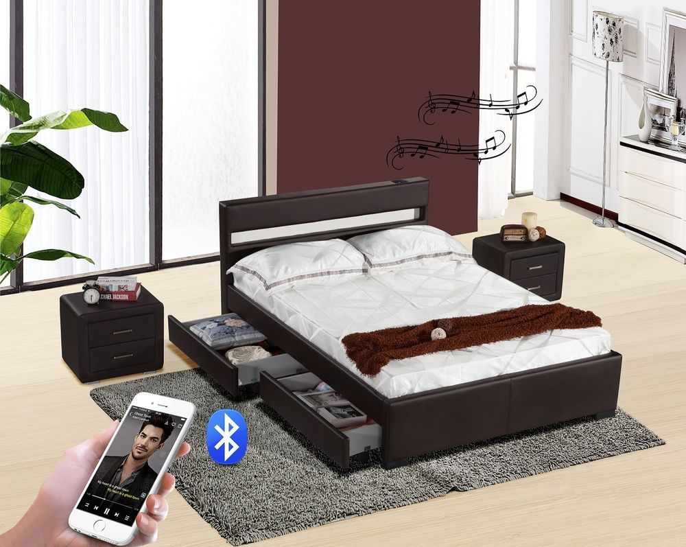 Bluetooth Music Bed Frame Storage Led Faux Leather Single Double King Size Ebay Bed Frame With Storage Leather Bed Bed