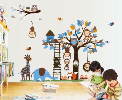 Pegatina infantil arbol de animales med 185 95cm vinilos for Pegatinas habitacion infantil
