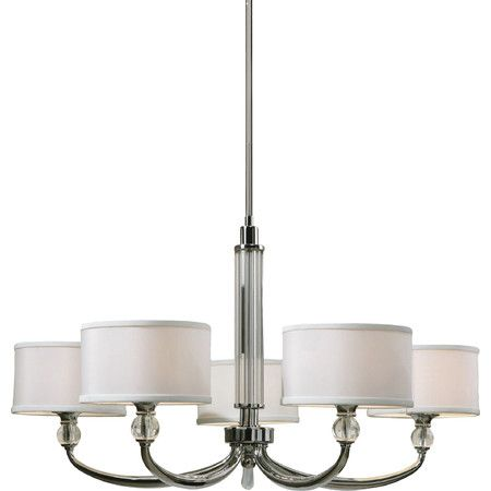 Cast a stylish glow over your foyer or dining room with this candelabra-inspired chandelier, featuring a shimmering chrome finish and white drum shades....