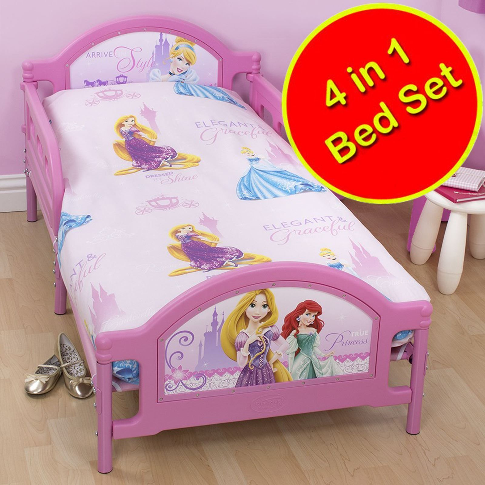 Disney Princess Sparkle Junior Rotary 4 In 1 Bedding Set