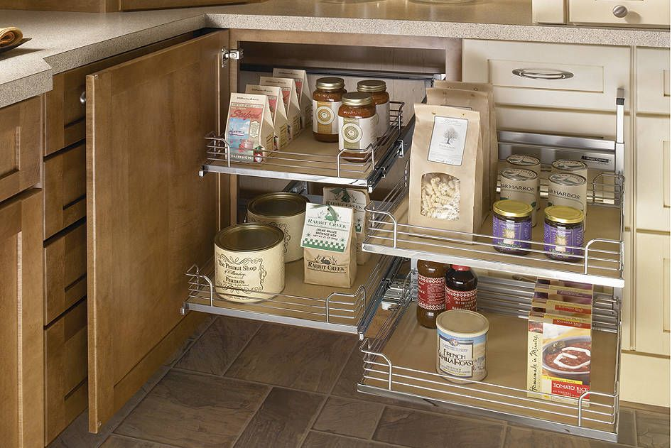 Blind corner cabinet pull out shelf roselawnlutheran for Blind corner systems for kitchen cabinets
