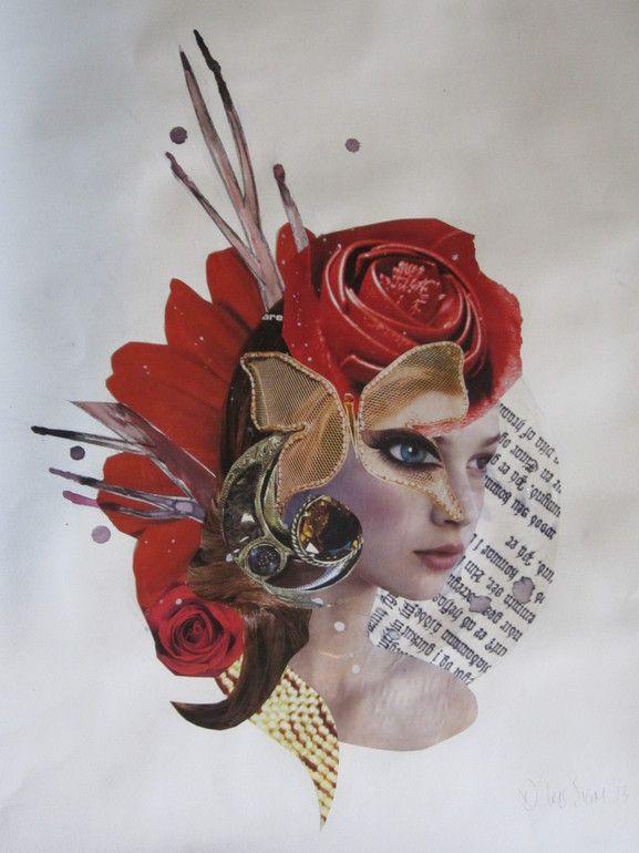 """Saatchi Online Artist: Dagrun Iris Sigmundsdottir; Paper, 2013, Assemblage / Collage """"Words of The Wild"""""""