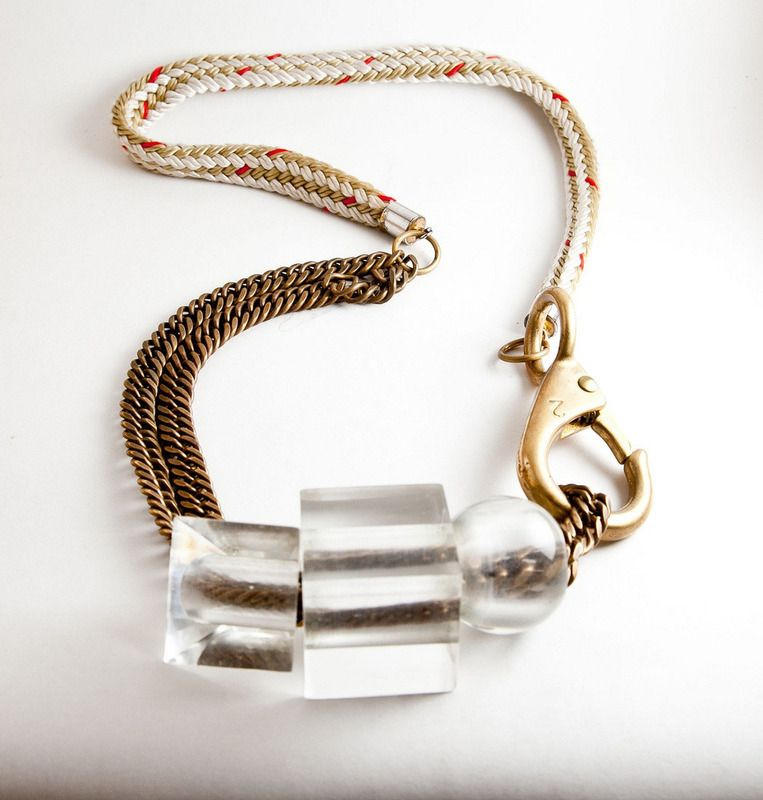 Clear lucite geometric shapes necklace with gold / brass - Asymmetrical - Architectural jewelry