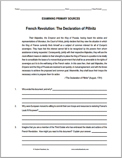 declaration of pillnitz 1791 dbq worksheet on the french revolution social studies french. Black Bedroom Furniture Sets. Home Design Ideas