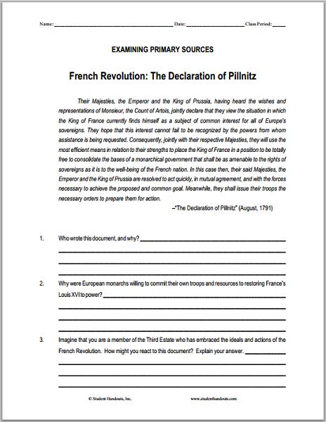 Declaration Of Pillnitz 1791 Dbq Worksheet On The French