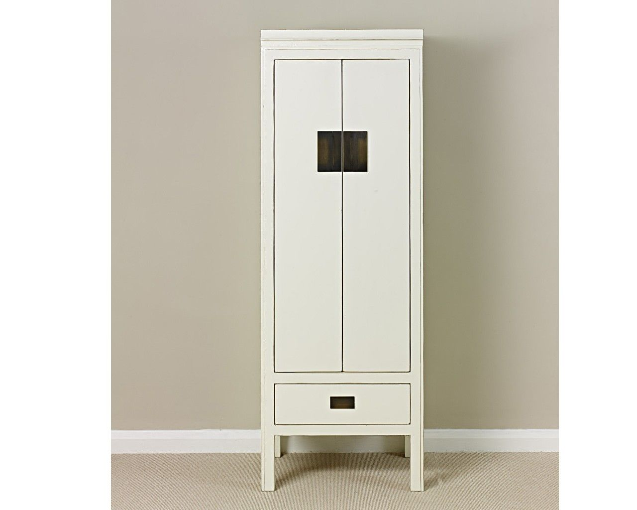 Oriental Furniture White Lacquer Cabinet  Narrow tall