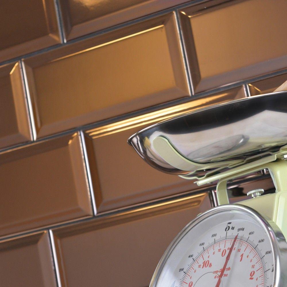 Bevelled Brick Plum Copper Tiles - Metallic Metro Tiles   Kitchen ...
