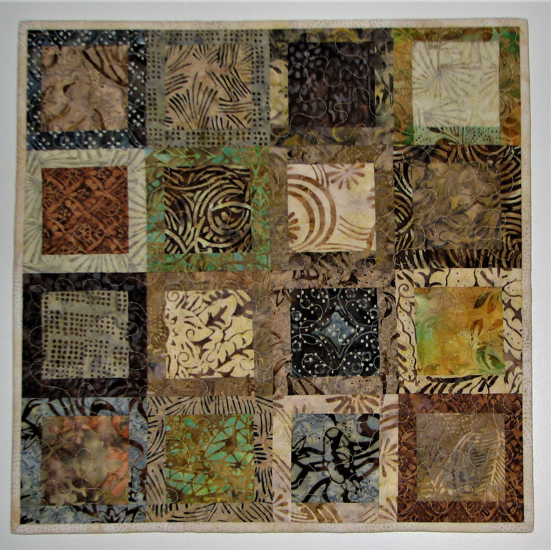 Modern Quilted Table Topper, Square Batik Table Runner