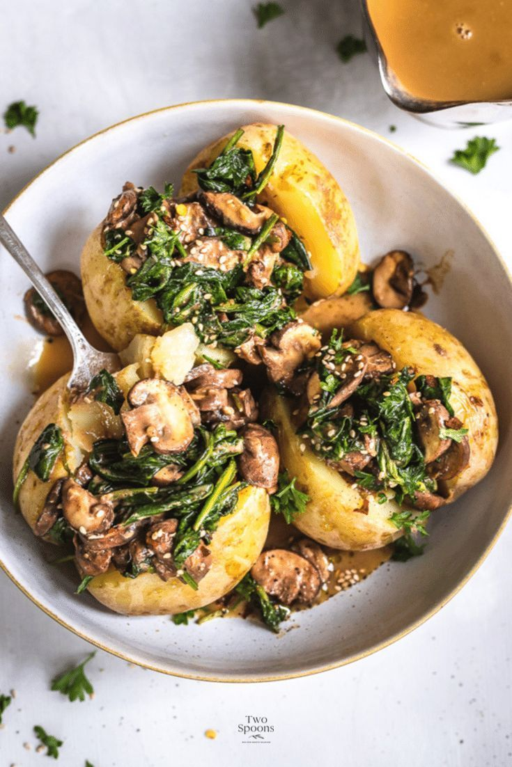Baked Potatoes with Mushroom and Spinach | TWO SPO