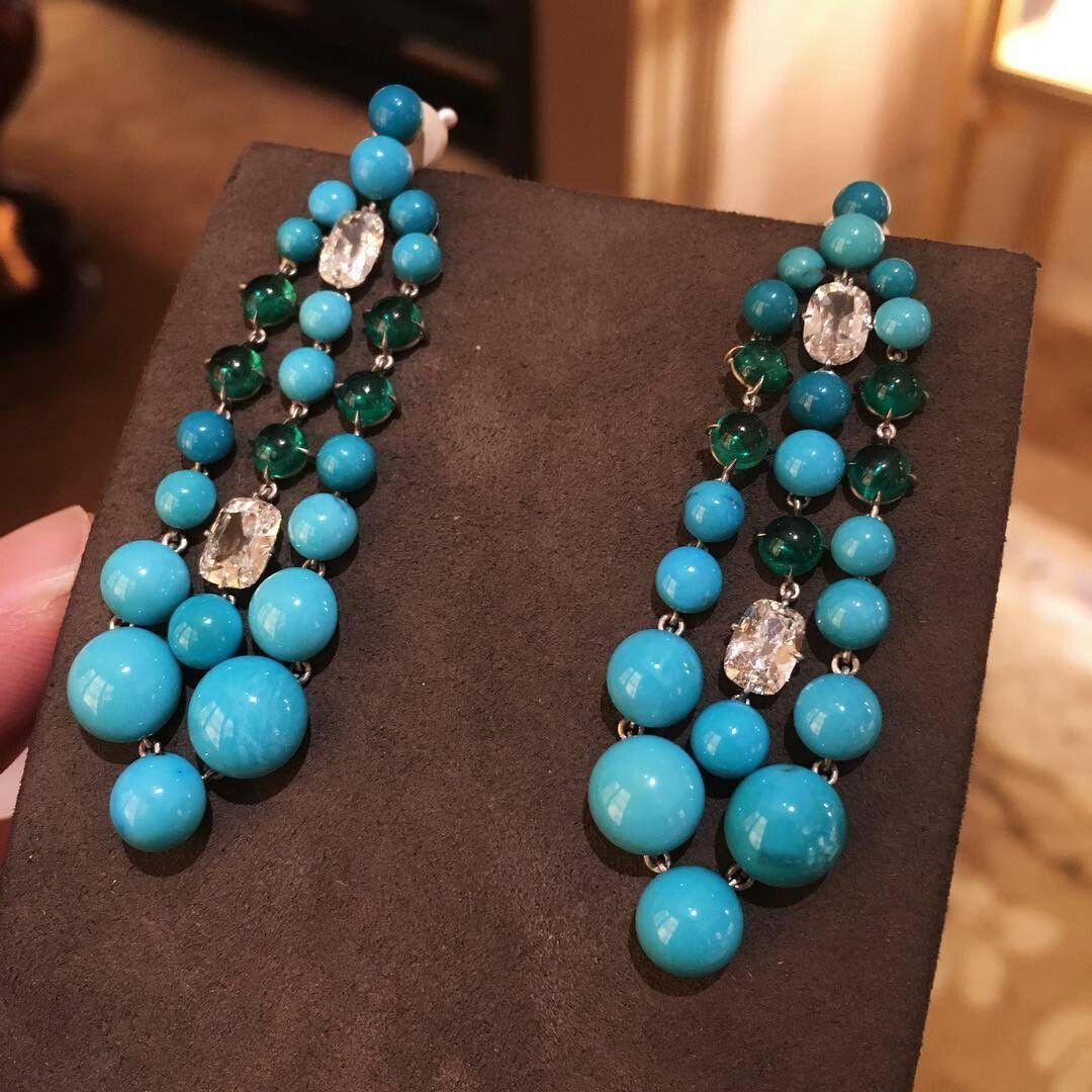 SABBA Turquoise, Emerald and Diamond Ear Pendants #FDGallery #SABBAjewels