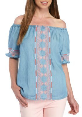 bd72bb3df310b8 Crown Ivy Embroidered Chambray Top | Products | Chambray top, Crown ...