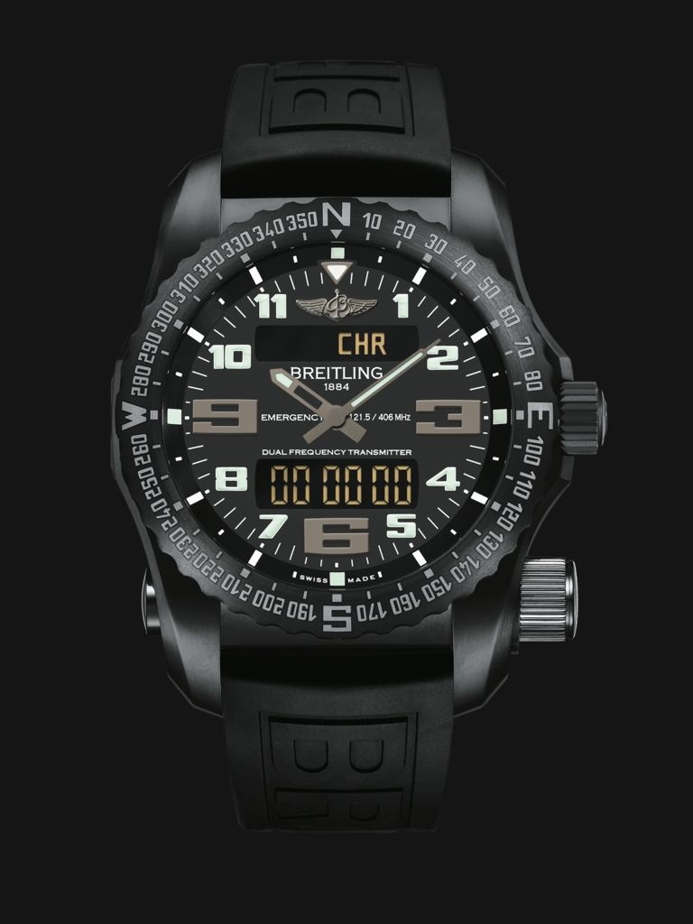 e760b8ea2f3e Emergency watch by Breitling - built in dual-frequency Personal Location  Beacon, all-black stealth design in stainless steel with rubber strap
