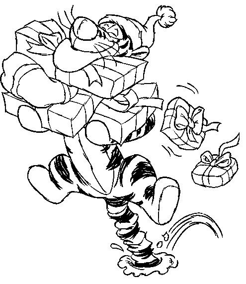 Disney Tiger Gift Boxes Bring Christmas Coloring Pages