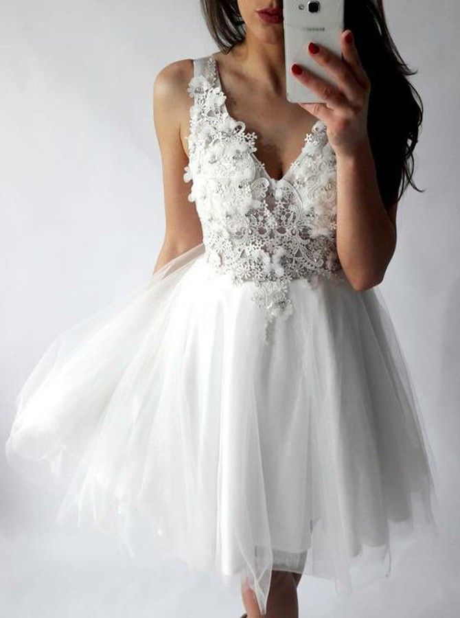 New Arrival A Line V Neck Short White Tulle Lace Homecoming Dress With Liques Pretty Dresses 12902