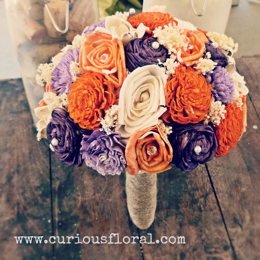 Image of Sola Flower Collection Bridal Bouquet- Ivory Purple Orange, Radiant Orchid Bridesmaid