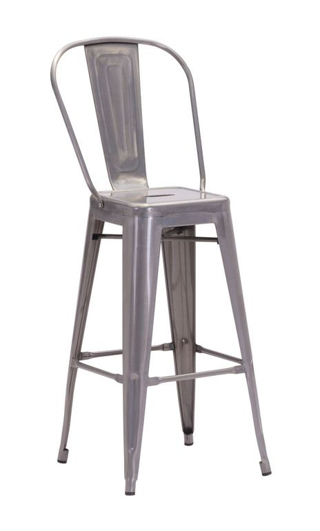 Zuo Modern 106120 Elio Bar Chair Gunmetal
