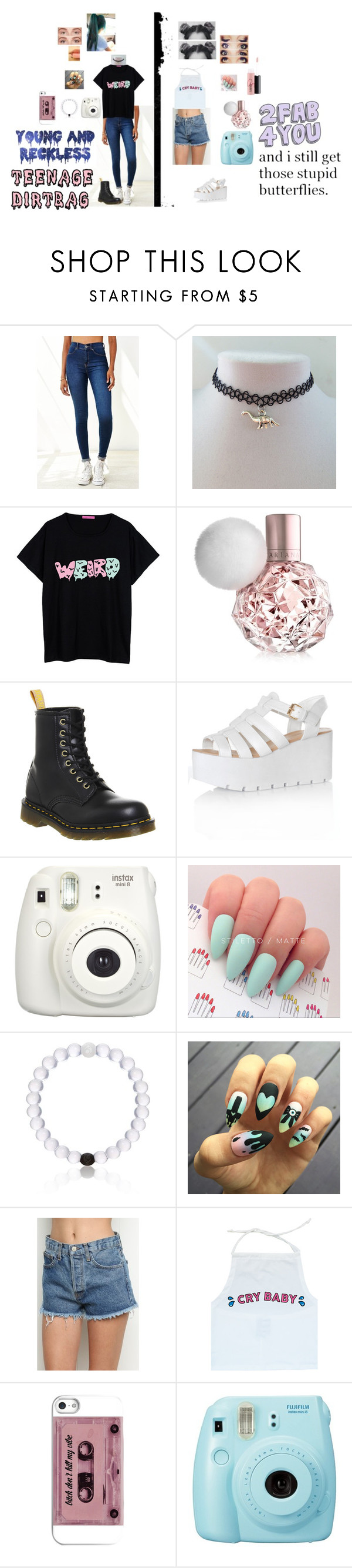"""#0059"" by lovelyalienbabe ❤ liked on Polyvore featuring Dr. Denim, Dr. Martens, Glamorous, Everest, Young & Reckless, Fuji, Benefit, tumblr, girly and opposites"