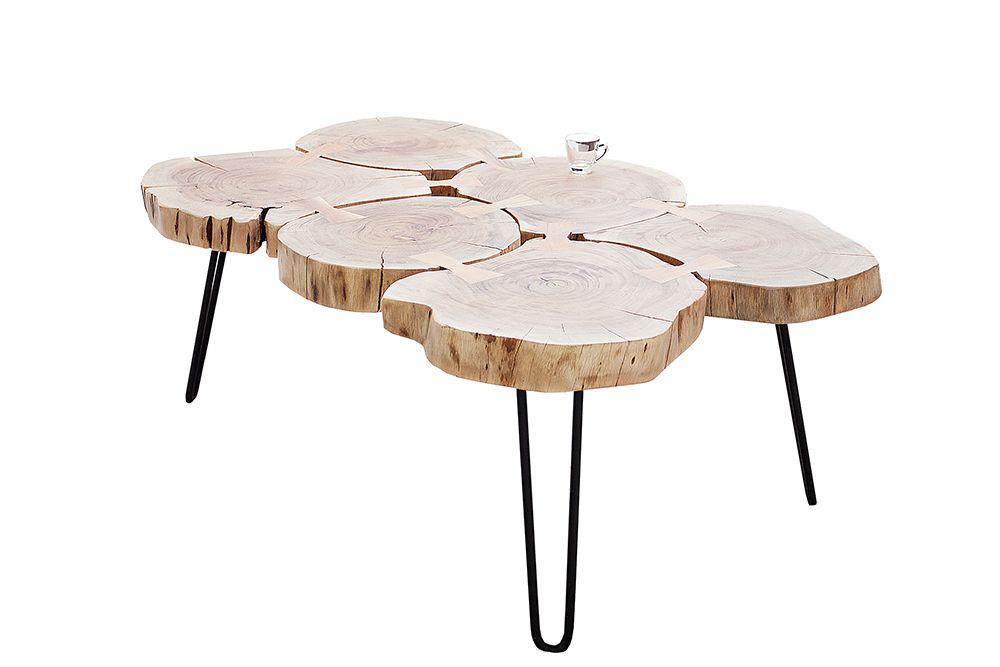 Massiver Couchtisch Goa 60cm Akazie Baumstamm Mit Rollen Unikat Tisch Couchtisch Baumstamm Couchtisch