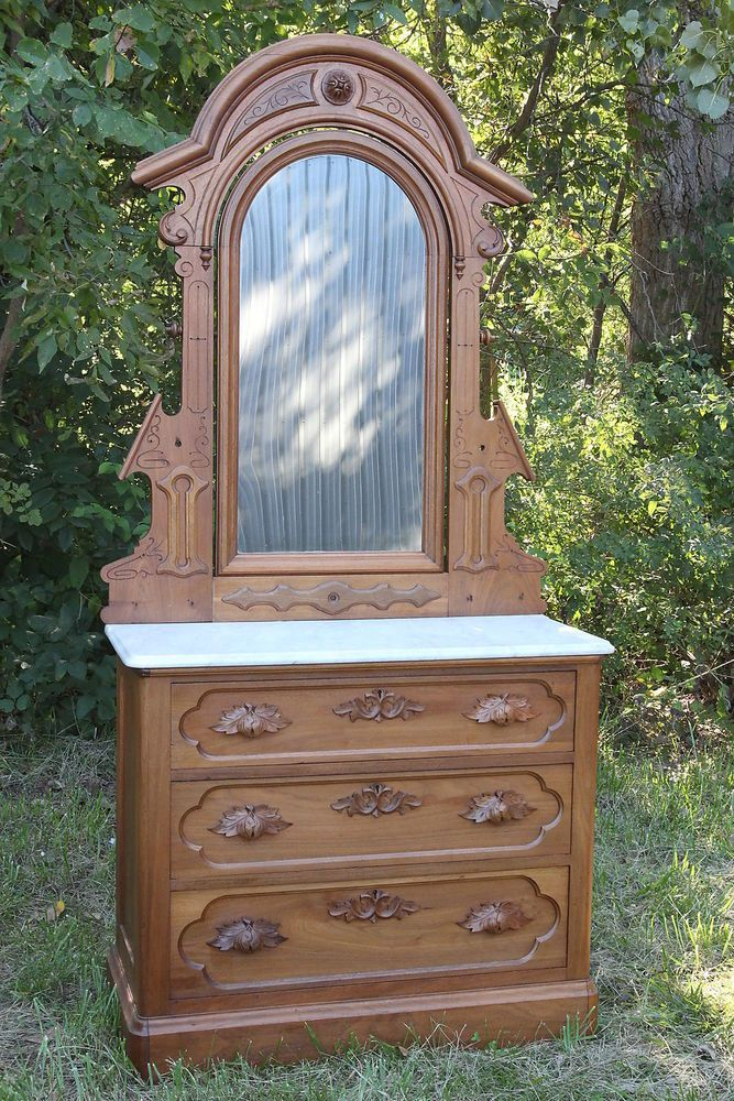 Details About Victorian Eastlake Antique Walnut Chest Or