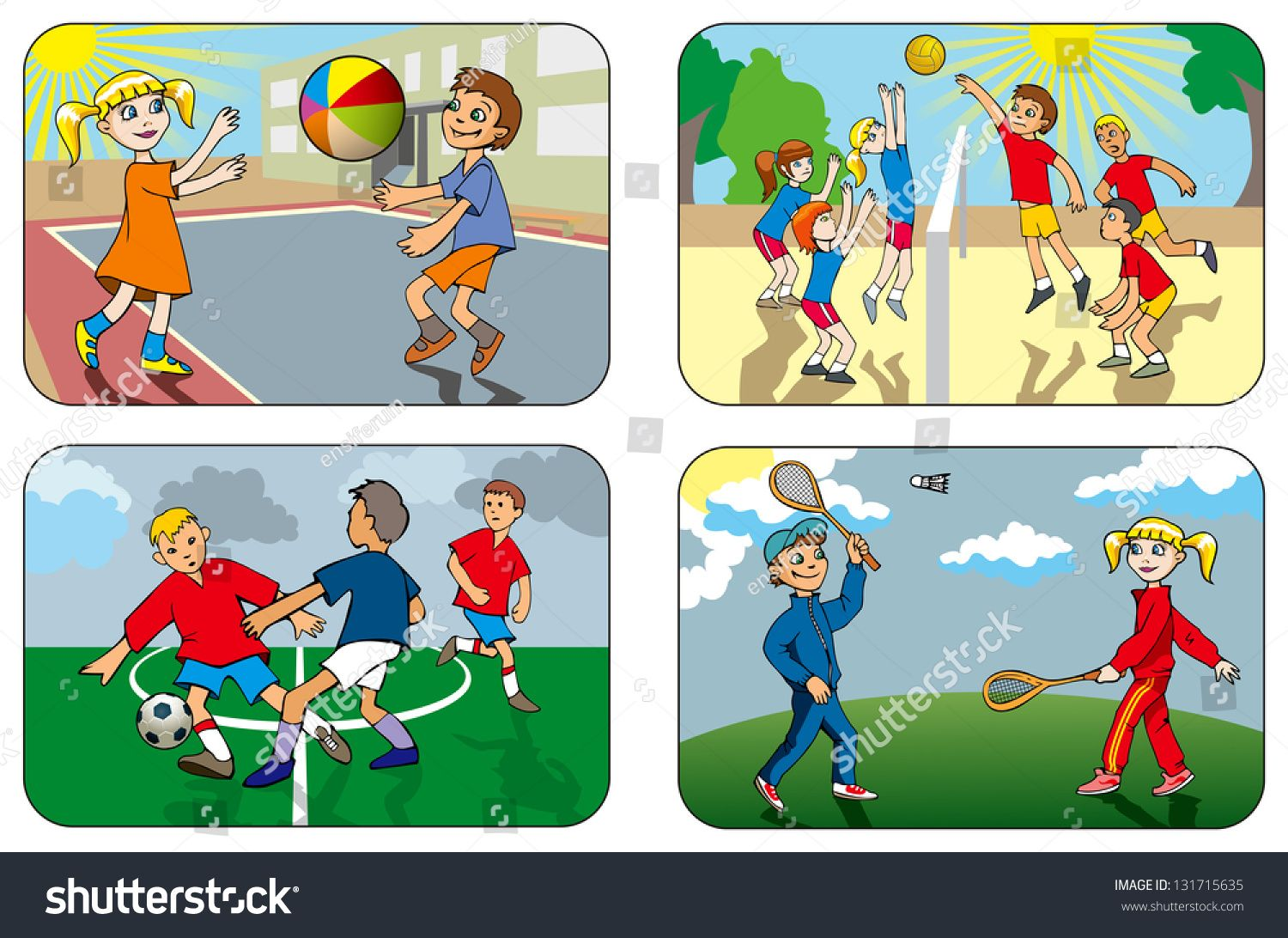 Children Play Different Outdoor Games Volleyball Soccer Badminton Hi Res Raster From Vector Illustration Sponsored S Outdoor Games For Kids Kids Playing
