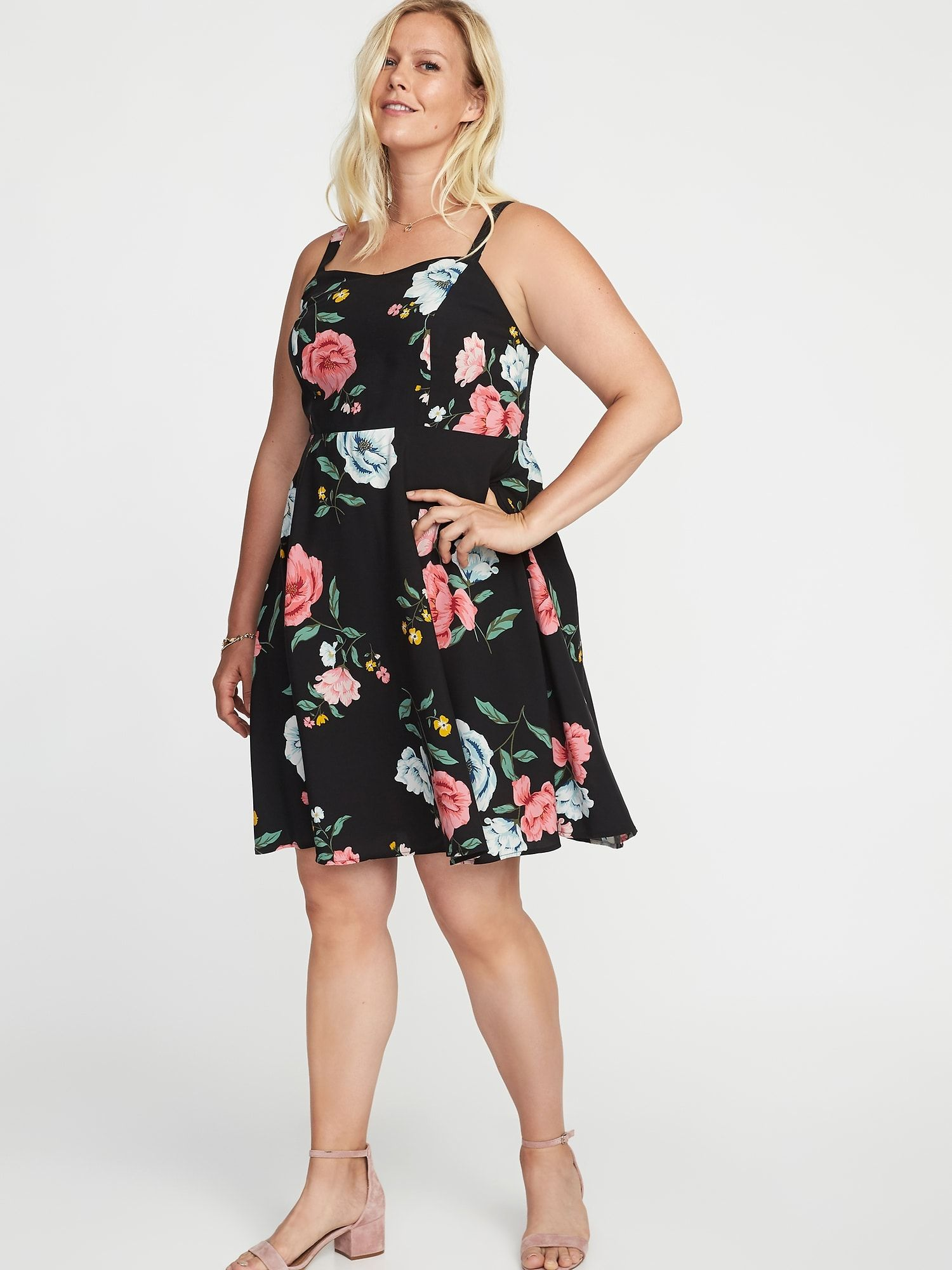 7c5cae2c9b445 Floral-Print Fit & Flare Plus-Size Cami Dress | Old Navy | WARDROBE ...