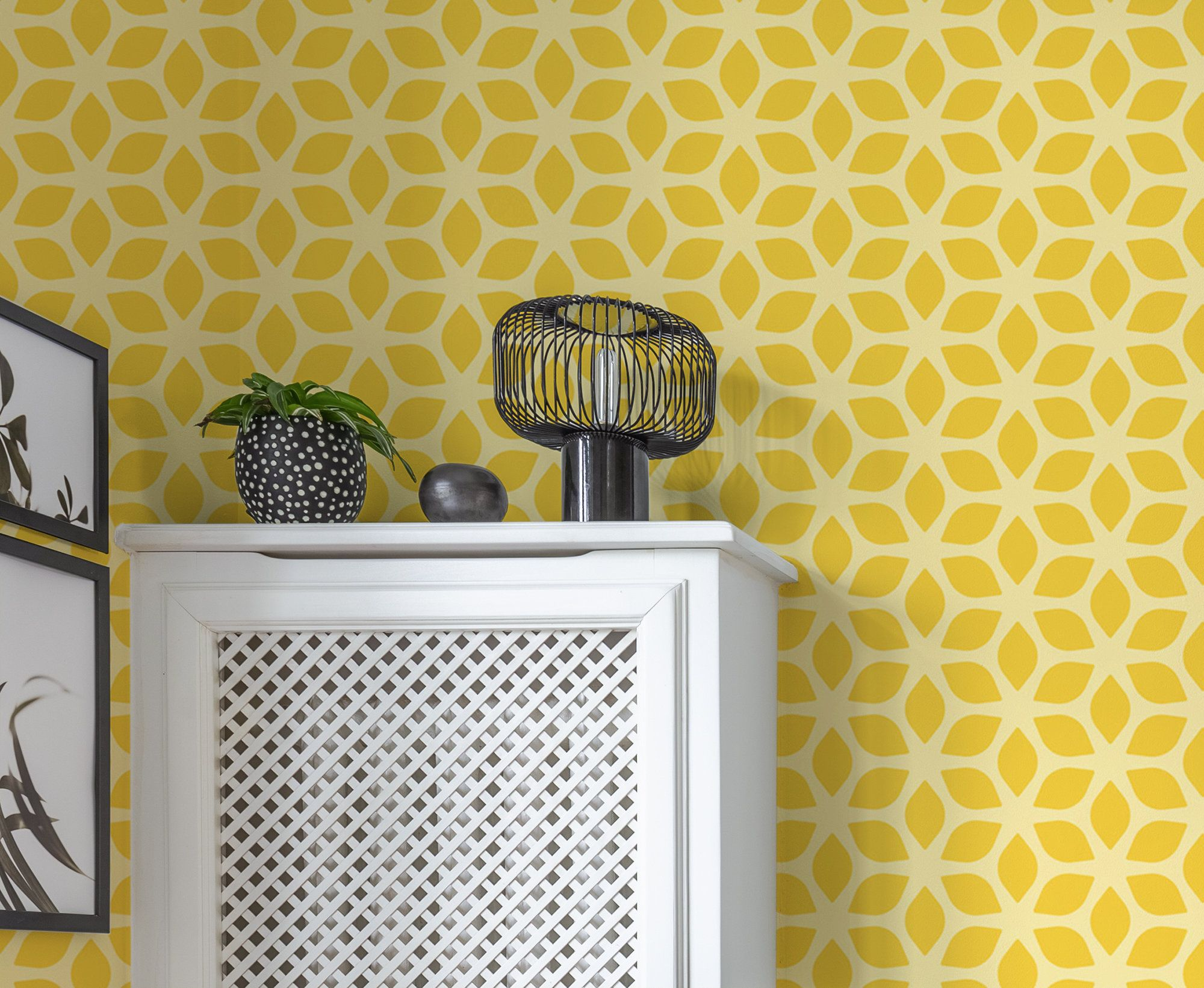 Removable Yellow Wallpaper With Abstract Pattern Peel And Etsy Yellow Wallpaper Geometric Wallpaper Home Decor