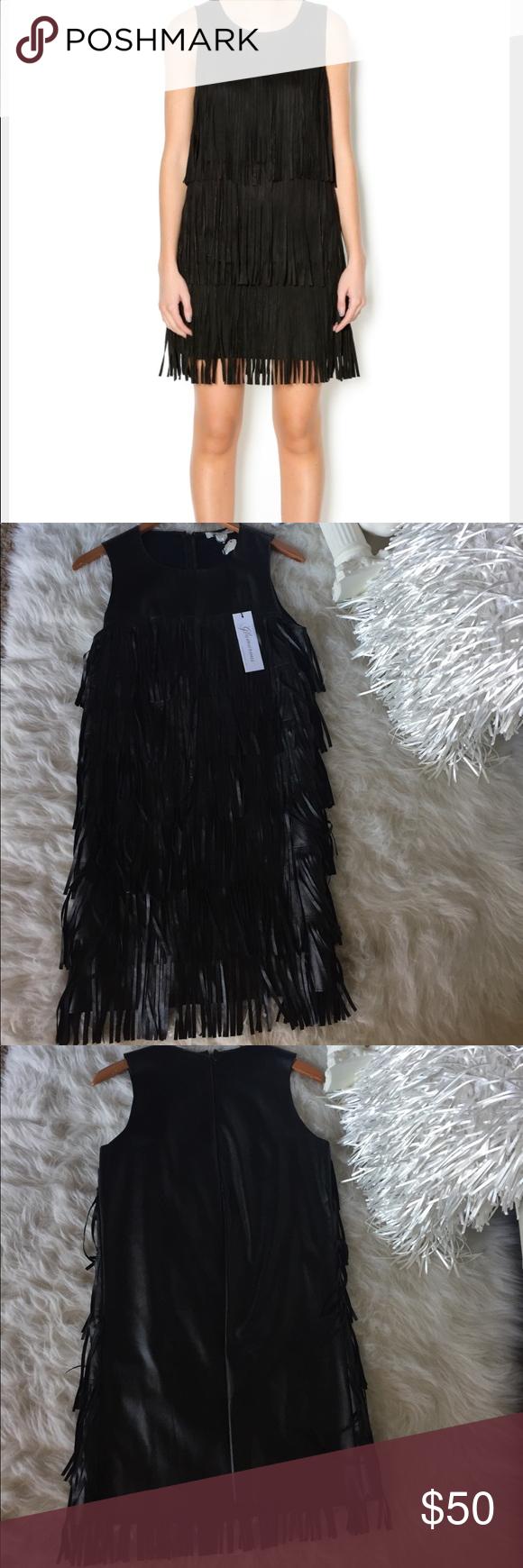 Vegan Faux Leather Fringe Dress Layers of fringe in front. Sleek back with no fringe. Zippered up back . Sleeveless. Brand new, never worn. Glamorous Dresses Mini