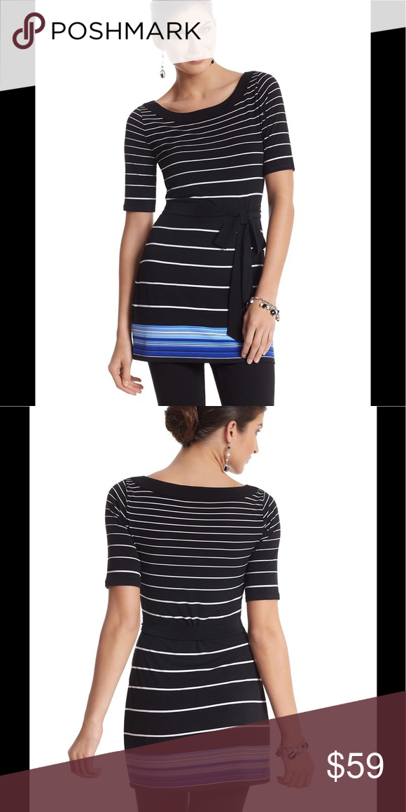 """🆕 WHBM Border Stripe Tunic Spring color breaks through at the bottom of this silky-soft belted tunic contoured to follow curves. Ecru stripes on black with sky blue and sapphire blue below. 95% Polyester, 5% Spandex. Machine wash, cold; tumble dry low. Or dry clean. Imported.  Pullover style; contoured stretch fit.  Banded bateau neckline. Belt shown not included.  Hits at the upper thigh (31"""" from shoulder).  Brand new with tag.  Smoke free and pet free. White House Black Market Dresses"""